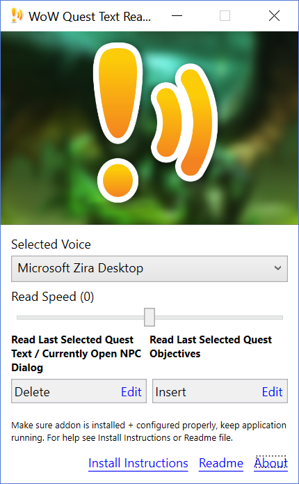 WoW Quest Text Reader interface